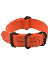 ArtStyle Watch Band with Thick Nylon Material Strap and High-End Black Buckle (Matte Finish) (20mm, Orange)