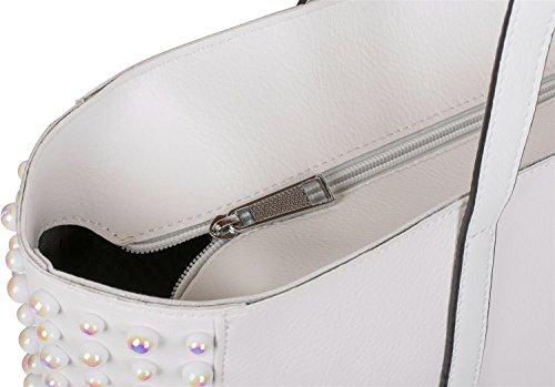 femmes tote cabas avec Ensemble Bleu de styleBREAKER décoratives perles Blanc clair à pochette sac main XXL bag couleur 02012230 FOqxw
