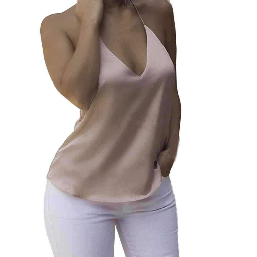 EOWEO Anniversary celebration T-Shirt Tops Vest Women Tops Sexy V Neck Backless Bandage Ladies Vest(Large,Khaki )