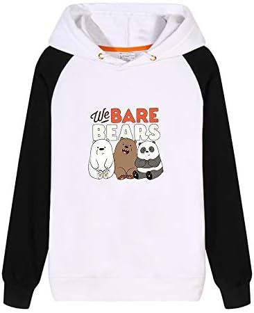 Vhunkjnr We Bare Bears Pullover Impresión de Dibujos Animados Estilo Simple con Capucha Sudadera con Capucha Unisex cómodo Unisex