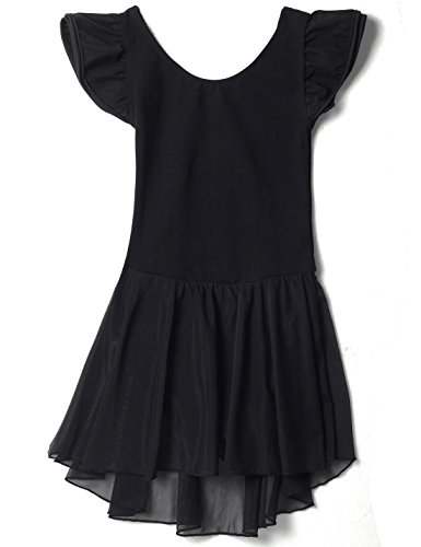 Apexsolaire Dance Leotard For Girls With Flutter Sleeve (Black, 59