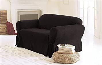 SOLID SUEDE Couch Cover 3 Pc Slipcover Set Sofa Loveseat Chair Covers BLACK Color