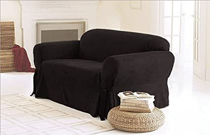 SOLID SUEDE Couch Cover 3 Pc Slipcover Set Sofa+Loveseat+Chair Covers BLACK  Color