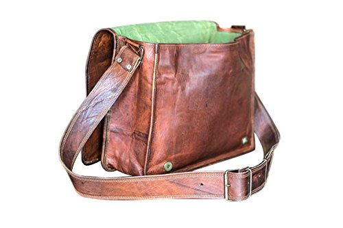 Leather Full Flap Messenger Handmade Bag Laptop Bag Satchel Bag Padded Messenger Bag School Bag 15X11X4 Inches Brown … (11 x 15) by cool crafts