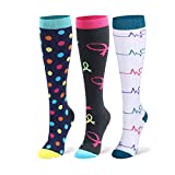 Compression Socks for Men & Women - 20-30mmHg 2 to 3 pairs Compression Stockings for Runners, Edema (Small/Medium, Assort 10, 3 pairs)