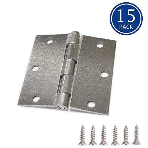 (15 Pack of Knobonly Brushed Nickel Finish Door Hinges 3.5