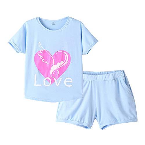 (MyFav Pajama Set Big Girls Comfy PJS Lovely Heart Shape Printed Sleepwear Nighty Blue)