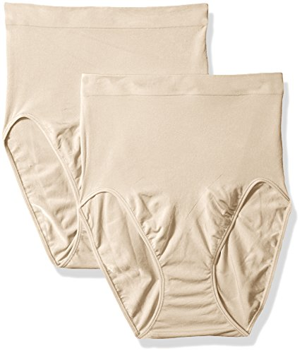 Flexees Maidenform Women's Shapewear Hi-Cut Brief 2-Pack, Beige, X-Large/16