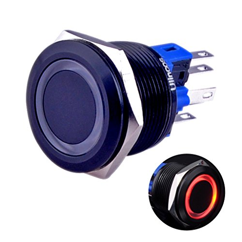 Ulincos Momentary Push Button Switch U22A1 1NO1NC Black Metal Shell with 12V Red LED Ring Suitable for 22mm 7/8 Mounting Hole (Red)
