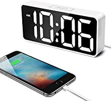 "7.5"" Large LED Digital Alarm Clock with USB Port for Phone Charger, 0-100% Dimmer, Touch-Activated Snooze, Outlet Powered..."