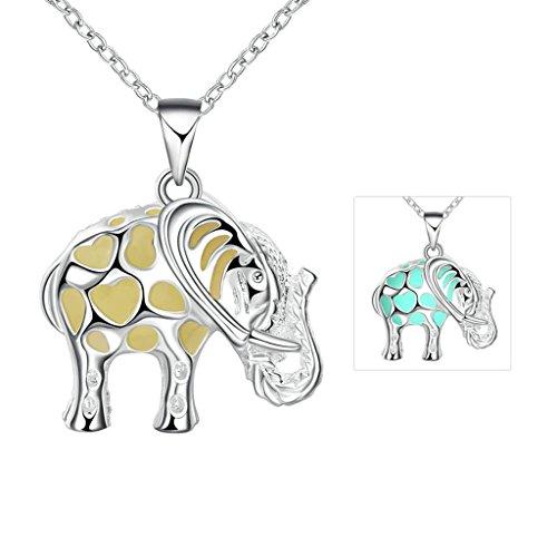 Epinki Womens Girls Baby Elephant Shape Cyan Luminous Halloween Necklace Glow in the (Spider Bracelet Halloween Craft)
