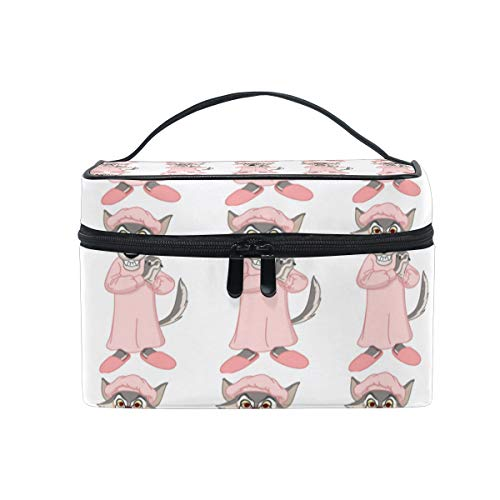Cosmetic Bag Little Red Riding Hood WolfTravel Makeup Brush Organizer Bag Multifunctional Travel Toiletry Bag -