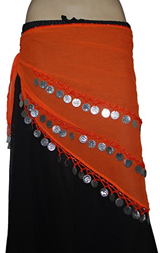 [Wevez 3 Rows Belly Dance Costume Silver Coin Hip Scarf / Belly Dance Belt (Orange)] (Scarf Coin Belly Dance Costumes)