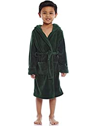 Kids Robe Boys Girls Solid Hooded Fleece Sleep Robe Bathrobe (2 Toddler-14 Years) Variety of Colors