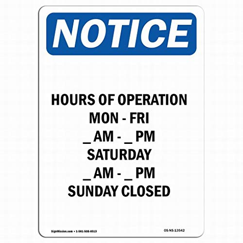 Ufcell Wall Art Decor OSHA Notice Sign - Hours of Operation Mon - Fri Warning Tin Signs Metal Sign Notice Safety Security Sign Street Decor 8x12