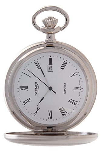 Swiss Made Pocket Watch (Bernex Swiss Made Rhodium Plated Pocket Watch Roman Numerals)
