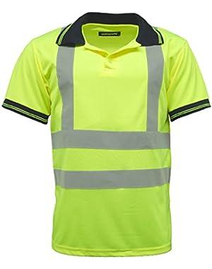 Men's Polo Shirts Hi Vis High Viz Visibility Short Sleeve Safety Shirt Work-wear