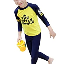 Baby Boys Kids Two Piece Long Sleeve Letter Print UV Sun Protection Swimsuit