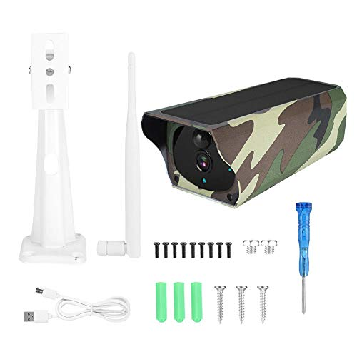 ASHATA Solar IP Camera, 1080P HD WiFi Outdoor Solar Security IP Camera Wireless Surveillance Camera Waterproof Night Vision Camera for Villas/Community/Courtyard/Fish Ponds/Orchards/Vegetable Plots