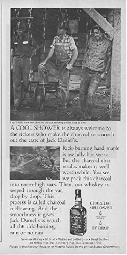 """Magazine Print ad: 1982 Jack Daniels Old No 7 Tennessee Whiskey,""""A Cool Shower is Always Welcome to the Rickers who Make the Charcoal to Smooth out the Taste."""""""