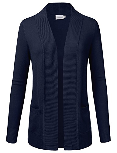 Blue Long Sleeve Sweater (JJ Perfection Women's Open Front Knit Long Sleeve Pockets Sweater Cardigan Navy XL)