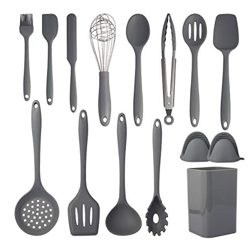 Cooking Utensils Set,Silicone Kitchen Utensil Set 15PCS,Non-Stick Silicone Kitchen Utensils,Heat Resistant 446°F Gadgets…