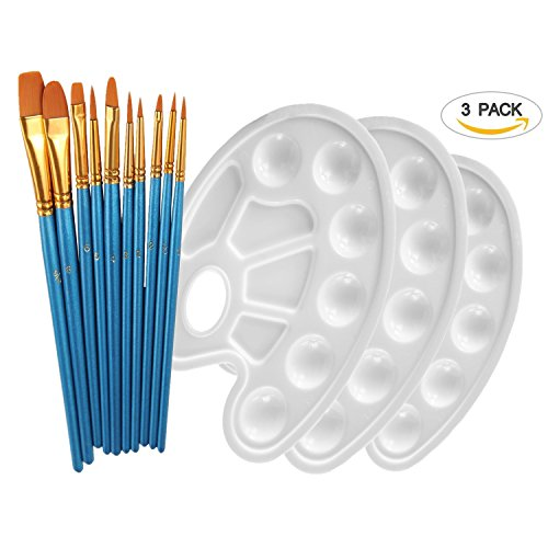 High Finish Pointed Brush - YOBAYE 10Pieces Round Pointed Tip Nylon Hair Brush Set With 3 Piece Paint Tray Palette