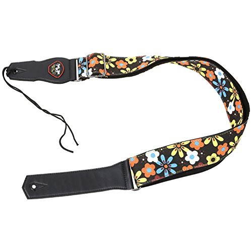Mugig Guitar Strap Cotton Bass Strap High Quality and Strong Holding (Flowers)