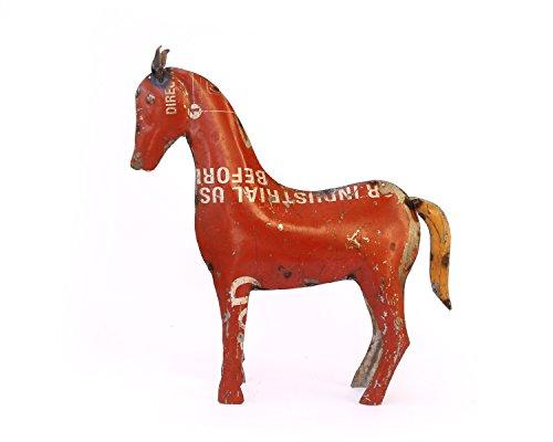 De Kulture Works Recycled Iron Figure Horse Showpiece 10.5x2.5x11 (Multicolour)