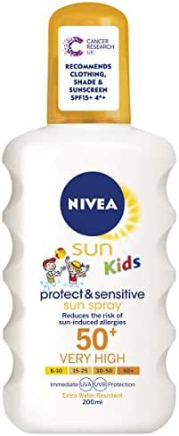 Nivea Kids Protect and Sensitive Sun Spray with SPF 50+, Very High - 200 ml