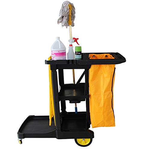 ZAQI 3 Shelf Commercial Cleaning Rolling Janitor Cart with 25 Gallon Vinyl Bag, Compact Mobile Utility Cabinet for Hotel/Housekeeping Room, Load 50kg