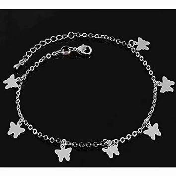 Doyime Bracelet de cheville Cha?ne de pied avec feuilles de mode Bijoux r/églable pour les femmes et les filles Petites feuilles