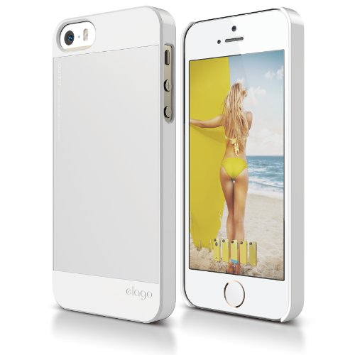 (iPhone SE case, elago [Outift][White/Silver] - [Premium Hybrid Construction][Aluminum][Spark Design Award] - for iPhone)