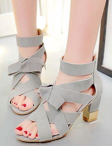 ShangYi Women's Shoes Fleece Chunky Heel Heels Sandals Casual Black / Gray