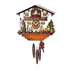 Original One Day Mechanical Movement Cuckoo Clock with Moving Beer Drinker and Woman with Rolling Pin 11 Inch