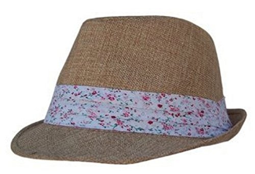 Academy Boho Sheek Natural Khaki with Flower Print Band Fedora Hat