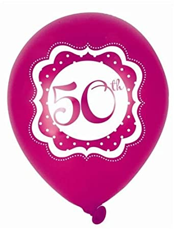 Perfectly Pink Happy 50th Birthday 10 Inch Latex Balloons X 6 By