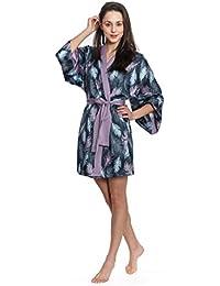 Women's Short Silk Kimono Robe (Grey)
