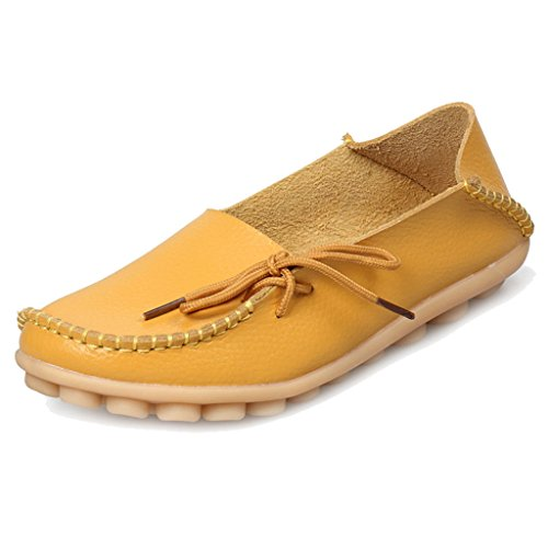 Womens Driving Shoes Cowhide Casual Lace-Up Loafers Boat Shoes Flats Yellow O2j6HV28