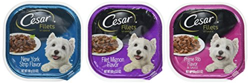 Cesar GOURMET FILETS Wet Dog Food Filet Mignon, New York Strip, and Prime Rib Flavors Variety Pack, (Pack of 24) 3.5 oz. Trays Review