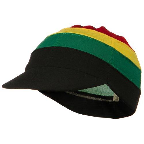 Multi Color Visor Spandex Beanie Cap - Jamaican OSFM