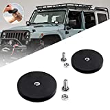 LEMIL - 2pcs Black Rubber Pot Magnet Magnetic Base Mount Bracket Sucker Holder with Rubber Pad for LED Work Light LED Light Bar