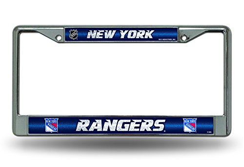 (NHL New York Rangers Bling Chrome License Plate Frame with Glitter Accent)