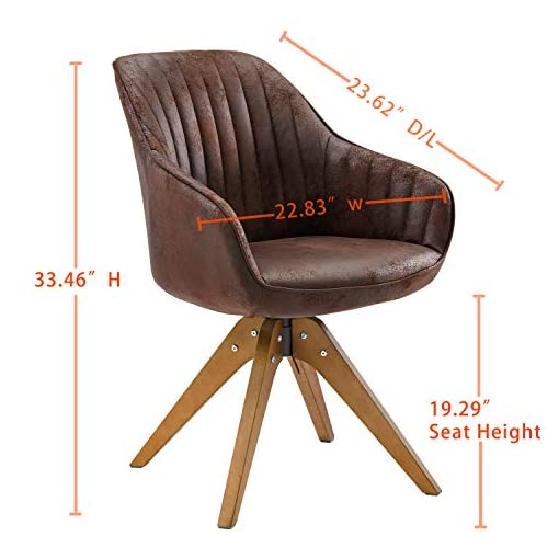 Farmhouse Accent Chairs Art Leon Mid-Century Modern Swivel Accent Chair Brown with Wood Legs Armchair for Home Office Study Living Room Vanity… farmhouse accent chairs