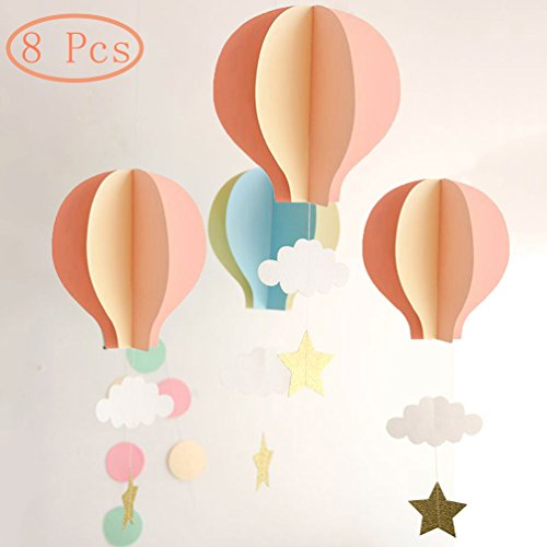 AZOWA 8 Pcs Large Size Hot Air Balloon 3D Paper Garland Hanging Decorations for Wedding Baby Shower Valentine's Day Christmas Dcor Birthday Party Supplies By (Pink, 8 Pcs)