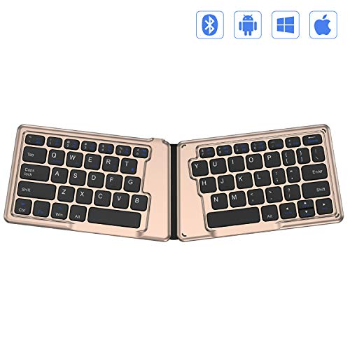 Folding Bluetooth Keyboard, Jelly Comb Ultra Slim Ergonomic Foldable Rechargeable Pocket Sized Mini BT Wireless Keyboard for iOS Android Windows Laptop Tablet Smartphone -Black and Gold