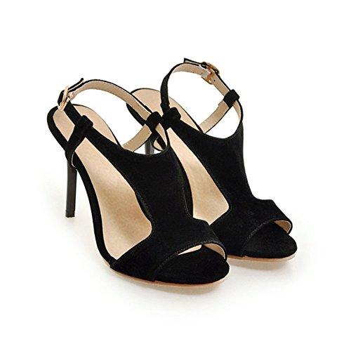 Primavera Noche Zapatos 37 de o Open Sandalias Zapatos Fiesta para Cadena de Hebilla Fino Mujer Toe Color Negro PU Zapatos Heel de tama de Mujer Verano Heel y qBfpUnwUtx