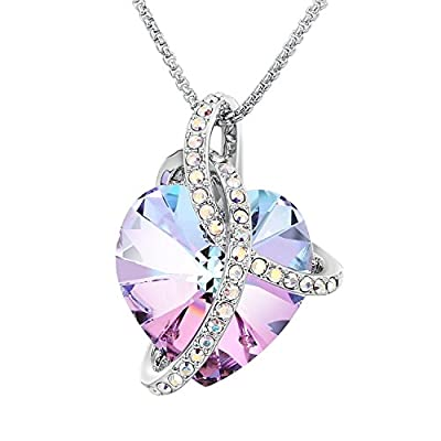 "Sue's Secret ""Courageous Heart"" Gradient Purple Noble Heart Pendant Necklace with Crystals from Swarovski"