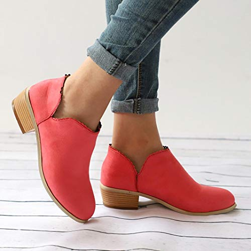 Lace Ankle Low Toe Muium Heel Boots Solid Ladies Women Round Color Boots Suede Red CWWqaPv