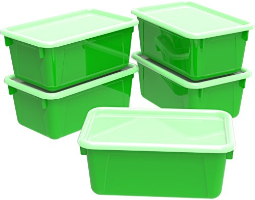 Storex Small Cubby Bin, Plastic Storage Container Fits Classroom Cubbies, 12.2